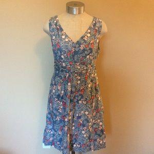 Boden v neck patterned dress cotton